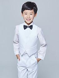 abordables -Bordeaux Blanc Gris Coton Costume de Porteur d'Alliance  - 4 Comprend Gilet Chemise Pantalon Noeud Papillon
