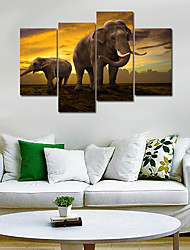 cheap -Animals Realism, Four Panels Canvas Any Shape Print Wall Decor Home Decoration