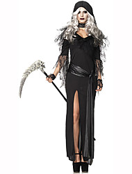 Wizard/Witch Female Halloween Christmas Carnival Children's Day New Year Oktoberfest Festival/Holiday Halloween Costumes Black Solid Lace