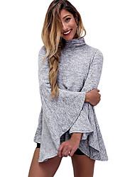 Damen Solide Retro / Street Schick Ausgehen / Lässig/Alltäglich T-shirt,Rollkragen Herbst Langarm Grau Polyester / Elasthan Dünn