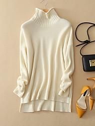 economico -Standard Pullover Da donna-Per uscire / Da party/cocktail / Vacanze Vintage / Moda città / Sofisticato Tinta unita Bianco / Grigio