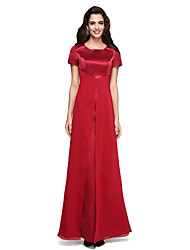 cheap -Sheath / Column Jewel Neck Floor Length Chiffon Satin Formal Evening Dress with Split Front by TS Couture®