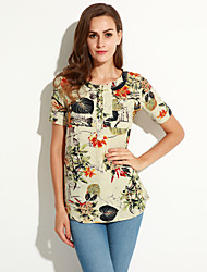 cheap -Summer/Fall Daily/Plus Size Women's Tops Round Neck Short Sleeve Floral Printing Loose Shirt Blouse