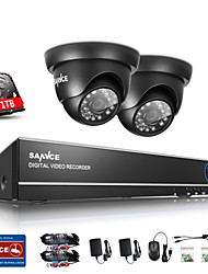 SANNCE® 1.0MP 720P 4CH HD 4 in1 TVI H.264 DVR In/Outdoor CCTV Security Camera System Built-in 1TB HDD