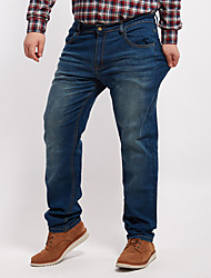 Men's Solid Blue Jeans Pants,Simple All Seasons