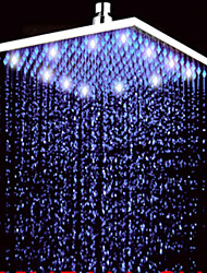 cheap -12 Inch Rain Shower Contemporary LED / Rainfall Stainless Steel Nickel Brushed