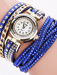 baratos -Mulheres Bracele Relógio / Relógio de Pulso Legal PU Banda Amuleto / Brilhante / Vintage Preta / Branco / Azul