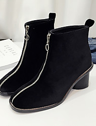 Women's Boots Winter Comfort Suede Casual Black Gray Royal Blue
