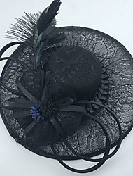 cheap -Gemstone & Crystal Tulle Lace Feather Net Fascinators Hats Headpiece with Crystal Feather 1 Wedding Special Occasion Event/Party Party /