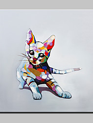cheap -Hand Painted Lovely Cat Animal Oil Painting On Canvas Modern Abstract Wall Art Picture