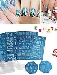 Недорогие -Рождественские ногтей штамповки пластин цветы Рождественский дизайн поделок шаблоны наклейки ногтей штамповки трафарета украшения набор