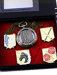 economico -Orologio / Distintivo Ispirato da Attack on Titan Eren Jager Anime Accessori Cosplay Distintivo / Orologio Oro Lega