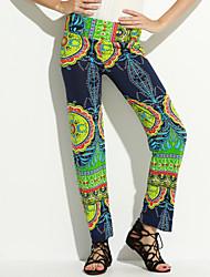 billige -Dame Klassisk & Tidløs Løstsiddende Bukser Multi Farve / Reaktivt Print
