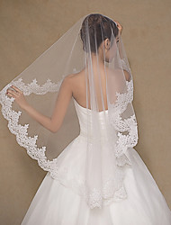 cheap -One-tier Lace Applique Edge Wedding Veil Fingertip Veils With Embroidery Lace Tulle