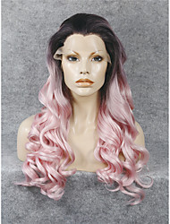 abordables -Pelucas sintéticas Ondulado Rosa Pelo sintético Rosa Peluca Encaje Frontal