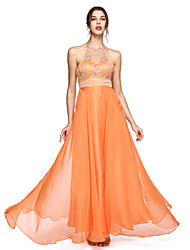 cheap -A-Line Halter Floor Length Chiffon Prom / Formal Evening Dress with Beading by TS Couture®