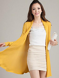 cheap -Women's Long Sleeves Long Cardigan - Solid Halter