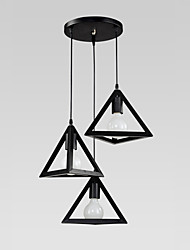 cheap -3 Heads Retro Black Pendant Lights Metal Dining Room Kitchen Bar Cafe decoration lighting