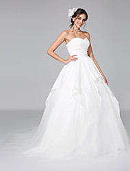 A-Line Princess Sweetheart Court Train Taffeta Tulle Wedding Dress with Criss-Cross by LAN TING BRIDE®