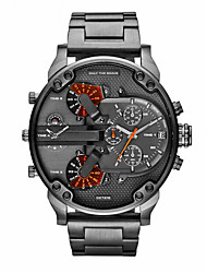cheap -Men's Wrist Watch Calendar / date / day / Dual Time Zones / Cool Alloy Band Luxury / Vintage / Casual Black / Sony S626 / Two Years