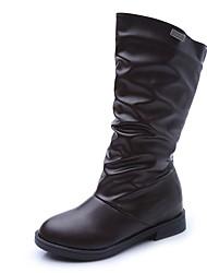Støvler-PU-Komfort-Damer-Sort Kakifarvet-Fritid-Lav hæl