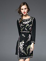JOJO HANS Women's Embroidery Casual/Daily Chinoiserie Sheath DressEmbroidered Round Neck Asymmetrical Long Sleeve Black Silk / Polyester Fall Mid Rise