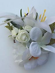 economico -Bouquet sposa Rose Gigli Fiore all'occhiello Matrimonio Partito / sera Raso Pelle Strass