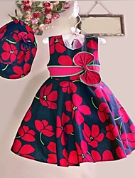 cheap -Girl's Flower Print Sleeveless Dress,Cotton Summer / Spring  Red Flower Knee-length Causal Holiday Party Girls Fashion (Hat incude)