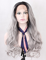 cheap -Ombre Grey Natural Long Wavy Synthetic Hair Lace Front Wig for Fashion Women Heat Resistant Half Hand Tied Fiber Hair Replacement Wig