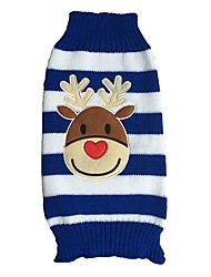 cheap -Cat Dog Sweater Dog Clothes Cute Christmas Reindeer Red Blue White/Black Costume For Pets