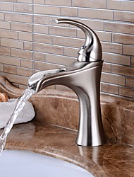 Contemporary Centerset Waterfall Widespread Ceramic Valve One Hole Single Handle One Hole Nickel Brushed , Bathroom Sink Faucet
