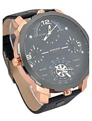 cheap -Men's Dress Watch Fashion Watch Wrist watch Sport Watch Military Watch Quartz Calendar / date / day Dual Time Zones Leather Band Vintage