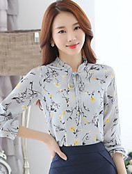cheap -Women's Daily Street chic All Seasons ShirtPrint Stand Long Sleeve Black / Gray / Yellow Rayon / Polyester Thin