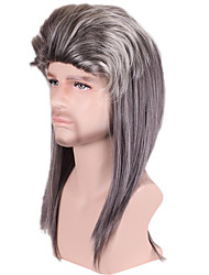 Long Medium Curly Side Bang Synthetic Wig for Men Grey Costume Cosplay Wigs Heat Resistant Cheap Hair