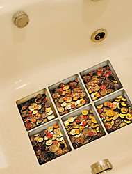Gold 3D Bathroom Non-Slip Stickers The Floor Tile Individuality Decorative Stickers