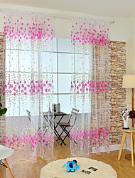 Rod Pocket One Panel Curtain Modern , Flower Kids Room Poly / Cotton Blend Material Sheer Curtains Shades Home Decoration For Window