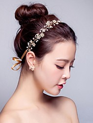 cheap -Pearl Rhinestone Alloy Headbands Flowers Wreaths Head Chain Hair Tool Headpiece