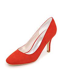 preiswerte -Damen Schuhe Beflockung Frühling Sommer Pumps High Heels Null Stöckelabsatz Quadratischer Zeh Null / für Kleid Schwarz Rot Grün Blau