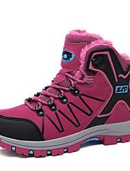 preiswerte -Damen Schuhe PU Winter Komfort Slouch Stiefel Sportschuhe Flacher Absatz Runde Zehe Schnürsenkel für Normal Purpur Fuchsia Dunkelgrau