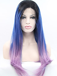 Women Synthetic Lace Front Wigs Top Quality Ombre Hair Three Colors Dark Roots Blue/Pink Handmade Wig