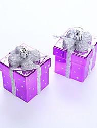 2 pcs / sac 7cm ornement de noël boîte coloré pendentif arbre de Noël nouvel an ornements décorations