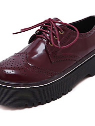 Women's Oxfords Spring Fall Comfort PU Casual Platform Lace-up Black Burgundy