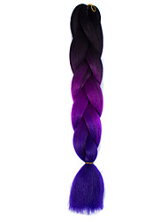Black Fuchsia Violet Ombre Crochet 24 Yaki Kanekalon 3 Tone Jumbo Braids 100g Synthetic Hair