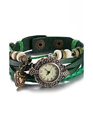 Women's Fashion Watch Wrist watch Bracelet Watch Quartz Water Resistant / Water Proof Leather Band Vintage Bohemian Bangle Black White