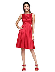 cheap -A-Line Jewel Neck Knee Length Taffeta Bridesmaid Dress with Pleats by LAN TING BRIDE®