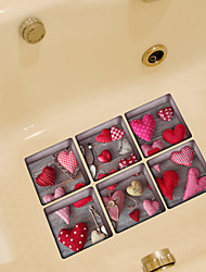 Loving Heart 3D Bathroom Non-Slip Stickers The Floor Tile Individuality Decorative Stickers