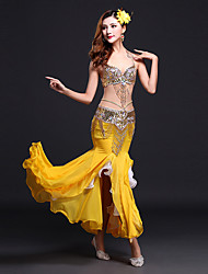 Belly Dance Outfits Women's Performance Spandex / Milk Fiber Sequin / Split Front Sleeveless Natural Skirt / Bra / Waist Belt