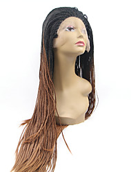 cheap -Sylvia Synthetic Lace front Wig Black Braided Hair Ombre Straight Heat Resistant Synthetic Wigs