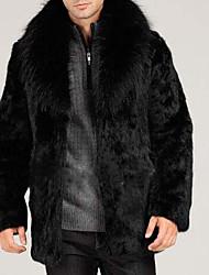 Manteau en Fourrure Homme,Couleur unie Fête / Soirée Manteaux Hiver Automne Manches longues Revers en Pointe Normal Fausse Fourrure