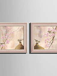 cheap -E-HOME® Framed Canvas Art Vases And Birds Framed Canvas Print Set Of 2